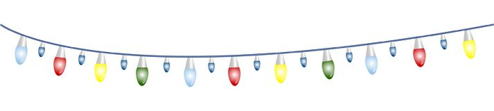 Christmas garland with light bulbs. Garland with multicolored light bulbs, green, red, yellow and blue. Vector illustration Stock Photo