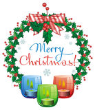 Christmas garland, lighted candle and holiday greeting text. Royalty Free Stock Photos