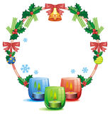 Christmas garland and lighted candle. Raster clip art. Christmas round garland and lighted candle. Raster clip art Stock Photo