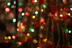 Christmas garland lights background. Christmas garland blurred lights of various colors stock images