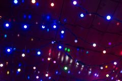 Christmas garland lights background Stock Photo