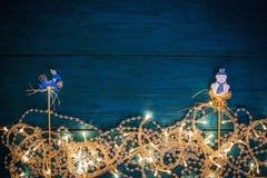 Christmas garland lights Stock Images