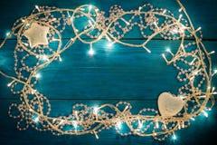 Christmas garland lights Stock Image