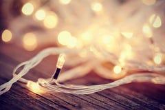 Christmas garland lights from LED bulbs Stock Photography