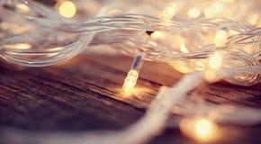 Christmas garland lights from LED bulbs Stock Image
