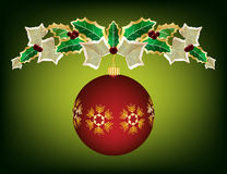 Christmas garland with ornament. Red ornament suspended from holly and ivy garland Royalty Free Stock Photo