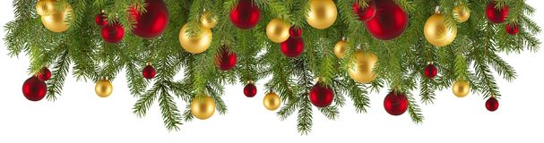 Christmas garland with ornaments and fir branches. Isolated Royalty Free Stock Photos