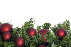 Christmas Garland with Red Baubles Royalty Free Stock Image