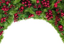 Christmas Garland with Red Berries Isolated on White Royalty Free Stock Photography