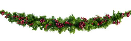 Christmas Garland with Red Berries Isolated on White. Christmas garland with red berries, isolated on white Stock Images