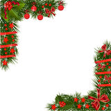 Christmas Garland with red decorations Royalty Free Stock Photography