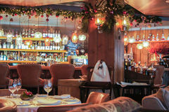 Christmas garland in the restaurant. Stock Image