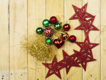 Christmas garland on rustic wood Royalty Free Stock Photography