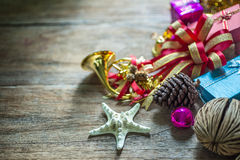 Christmas garland on rustic wooden background with copy space. Stock Image