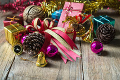Christmas garland on rustic wooden background with copy space, Stock Photo
