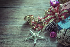 Christmas garland on rustic wooden background with copy space Stock Images