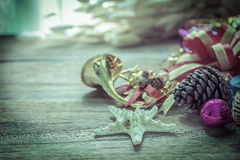 Christmas garland on rustic wooden background with copy space Stock Photo