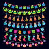 Christmas garland set with gift socks, snowman, balls and others holiday elements. Vector illustration Stock Photography