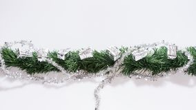 Christmas garland with silver gift boxes Stock Photos