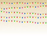 Christmas garland with snow Royalty Free Stock Photos