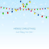 Christmas garland and snowflakes Stock Photos