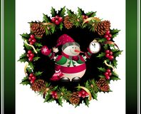 Christmas garland with snowman and pinecones. Wreath garland snowman pinecone berry ribbon watch clock stock illustration
