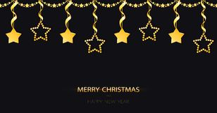 Christmas garland with sparkling yellow gold baubles on the black background. Golden decoration with hanging stars with ribbons. stock illustration
