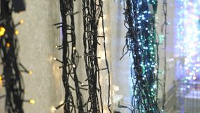 Christmas garland at the store. Holiday decorations stock footage