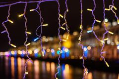 Christmas garland on the street at night Royalty Free Stock Photos