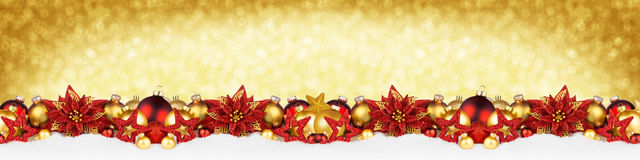Christmas garland super wide red gold  panorama banner. Christmas garland super wide panorama banner with sparkle shiny glitter golden background and red gold Stock Photos