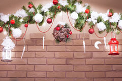 Christmas garland from tree branches and lights Stock Photo