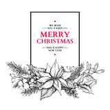 Christmas garland. Vector hand drawn illustration with holly, mi Royalty Free Stock Photo