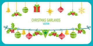 Christmas Garland Vector. Winter Holidays Vector Clip Art On White Background. New Year Garland Decorations. Snowflakes, Gifts, Christmas balls vector Stock Photos