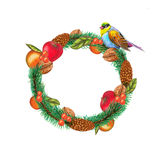 Christmas garland. Watercolor christmas garland on white background Royalty Free Stock Images