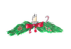 Christmas garland on white. Hand drawn sketch. Christmas green garland on white. Hand drawn sketch Stock Photography