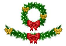 Christmas garland with white lights vector isolated Stock Photo