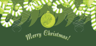 Christmas Garland With Candy Canes. Banner Royalty Free Stock Photo