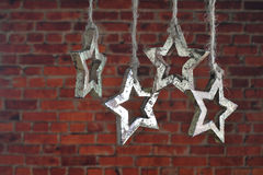 Christmas garland of wooden star. Stock Image