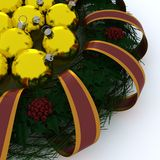Christmas Garland wrapped in ribbon Royalty Free Stock Image