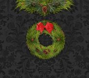 Christmas Garland and Wreath Against a Dark Damask Wall vector illustration