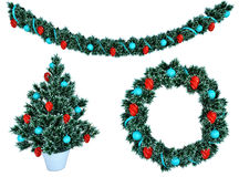 Christmas garland and a wreath with holly berries isolate Stock Photo