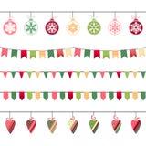 Christmas garlands, endless horizontal texture. Royalty Free Stock Photos