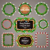Christmas Garlands Frames and Blackboard with a Royalty Free Stock Image