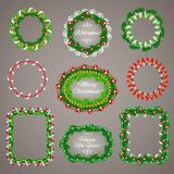 Christmas Garlands Frames with a Copy Space Set Royalty Free Stock Photos