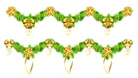 Christmas garlands with golden ribbons and bells Stock Photos