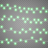 Christmas garlands isolation on transparent background. Xmas realistic overlay lights card. Holidays decorations bright. Christmas red garlands isolation on Stock Images