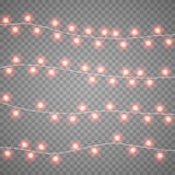 Christmas garlands isolation on transparent background. Xmas realistic overlay lights card. Holidays decorations bright. Christmas red garlands isolation on Stock Photos