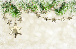 Christmas garlands with stars and pine tree twigs Royalty Free Stock Image