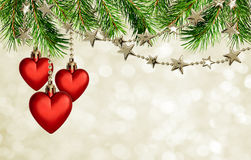 Christmas garlands with stars and red hearts decoration on holid Stock Images