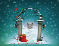 Christmas gates royalty free illustration